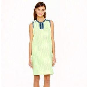 Jcrew neon green/yellow arrow print dress